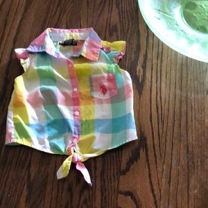 Sweet pastel plaid girls tie crop top